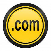 com icon, yellow logo,