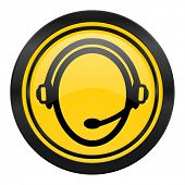 customer service icon, yellow logo,