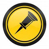 pin icon, yellow logo,