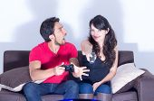 desperate man looking at girlfriend turning off video game