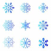 Vector snowflakes. Christmas and new year design element set.
