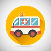 Ambulance Car Hastens Aid Rescue Icon Heal Treatment Symbol on Stylish Background Modern Flat Design