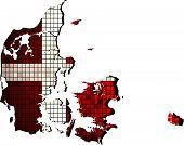 Denmark map with flag inside