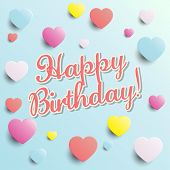 Birthday Card With Colorful Hearts