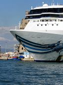 Cruise ship moored in Livorno harbor, Italy