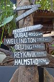 Signs with the names of cities and distances on the island Phi-Phi. Thailand