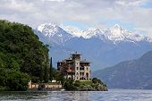 Architecture on the shore of Lake Como in Italy