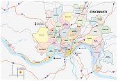 Cincinnati Road And Neighborhood Map
