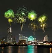 Fireworks Celebrating Over  Marina Bay In Yokohama City