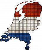 Netherlands map with flag inside