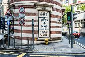 Hong Kong ,China - June 4, 2014: Fringe Club exterior streets at Soho Central Hong Kong