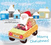 Santa Claus rides in a car with gifts (Christmas card)