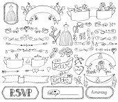 stock photo of bridal shower  - Doodles swirl border - JPG