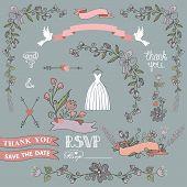 Bridal Shower Template Set.floral Decor Elements