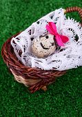 Single egg on lace napkin in wicker basket on green background