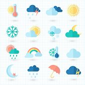 Set of weather icons on blueprint