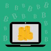 stock photo of bitcoin  - Bitcoin design over green background - JPG