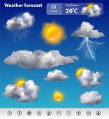 pic of cold-weather  - Realistic weather forecast widget mobile application program layout template vector illustration - JPG
