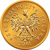 picture of copper coins  - vector obverse Polish Money two groszy copper coin with eagle in a golden crown - JPG
