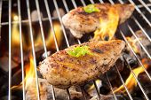stock photo of flames  - Marinated grilled chicken on the flaming grill.