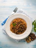 image of hungarian  - spaghetti with tomato nuts and dried grape - JPG