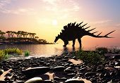 pic of enormous  - Dinosaur on the shore of the island - JPG