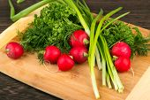 pic of radish  - Healthy vegetarian food. Radishes parsley green onions