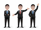 pic of  realistic  - Set of Realistic Smart Different Professional and Business Man Characters With Eyeglasses in Long Sleeve and Necktie Isolated in White Background - JPG