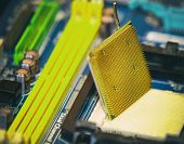 stock photo of processor socket  - Close up on CPU Socket on motherboard