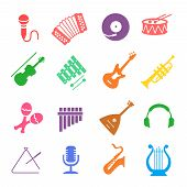 pic of accordion  - Musical instruments icon  vector colored set with guitar - JPG