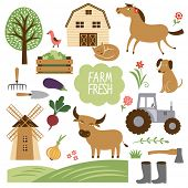 stock photo of cattle dog  - set of vector illustration of farm animals and related items - JPG