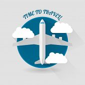 stock photo of time flies  - Time to travel modern flat style plane icon - JPG