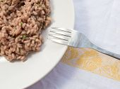 image of italian parsley  - An Italian risotto prepared with radicchio a kind of chicory and a touch of parsley - JPG