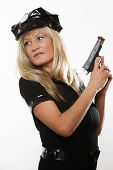 foto of handgun  - blonde female policewoman cop posing with gun handgun isolated on white background - JPG