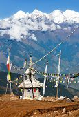 picture of nepali  - view from Langtang to Ganesh Himal with stupa and prayer flags  - JPG