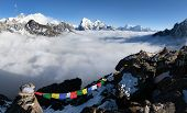 picture of cho-cho  - Panoramic view of Mount Everest Lhotse and Makalu from Gokyo Ri vith prayer flags  - JPG