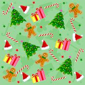 foto of christmas hat  - Christmas seamless pattern with santa hat candy cane christmas stars gingerbread gifts and colorful christmas tree - JPG