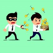 pic of stealing  - Businessman run thief use magnet stealing idea vector illustration - JPG