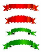 image of candy cane border  - Set of different shape red and green christmas banners - JPG