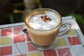 picture of cinnamon  - hot cappuccino coffee with cinnamon topping shallow depth of field  - JPG