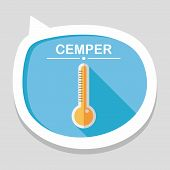 image of fahrenheit thermometer  - Thermometer Flat Icon With Long Shadow - JPG