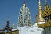pic of yangon  - Shrines and stupas around the Beautiful Shwedagon Pagoda that dominates over Yangon - JPG