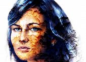 stock photo of mystical  - mystic face women with structure crackle background effect collage - JPG