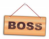 picture of woodgrain  - Boss sign in woodgrain with red string and screw - JPG
