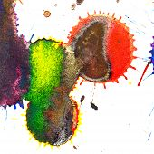 stock photo of indigo  - Color red orange yellow green blue indigo violet ink stain on a white background - JPG
