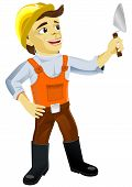 stock photo of trowel  - Illustration of young plasterer with a trowel - JPG