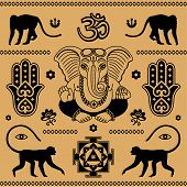 picture of east-indian  - east ornament of Indian elements on a beige background - JPG