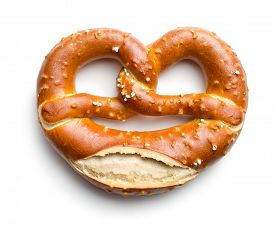 image of pretzels  - baked pretzel on white background - JPG