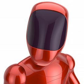 stock photo of spaceman  - Robot cyborg dummy red futuristic bot spaceman concept - JPG