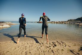 stock photo of triathlon  - Rear view of participants wearing wetsuits running into the water for start of a triathlon race - JPG